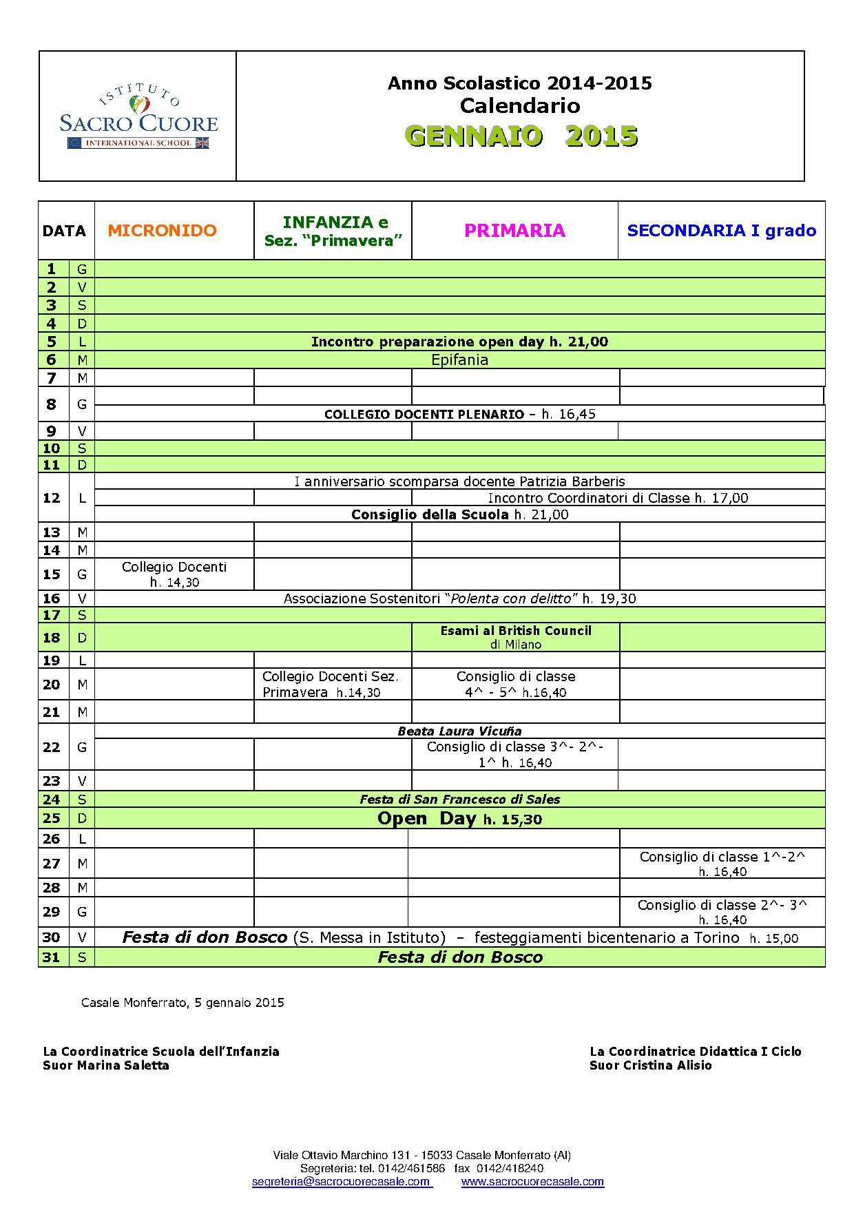 Calendario Mese Di Gennaio 2015  U2013 Sacro Cuore Casale