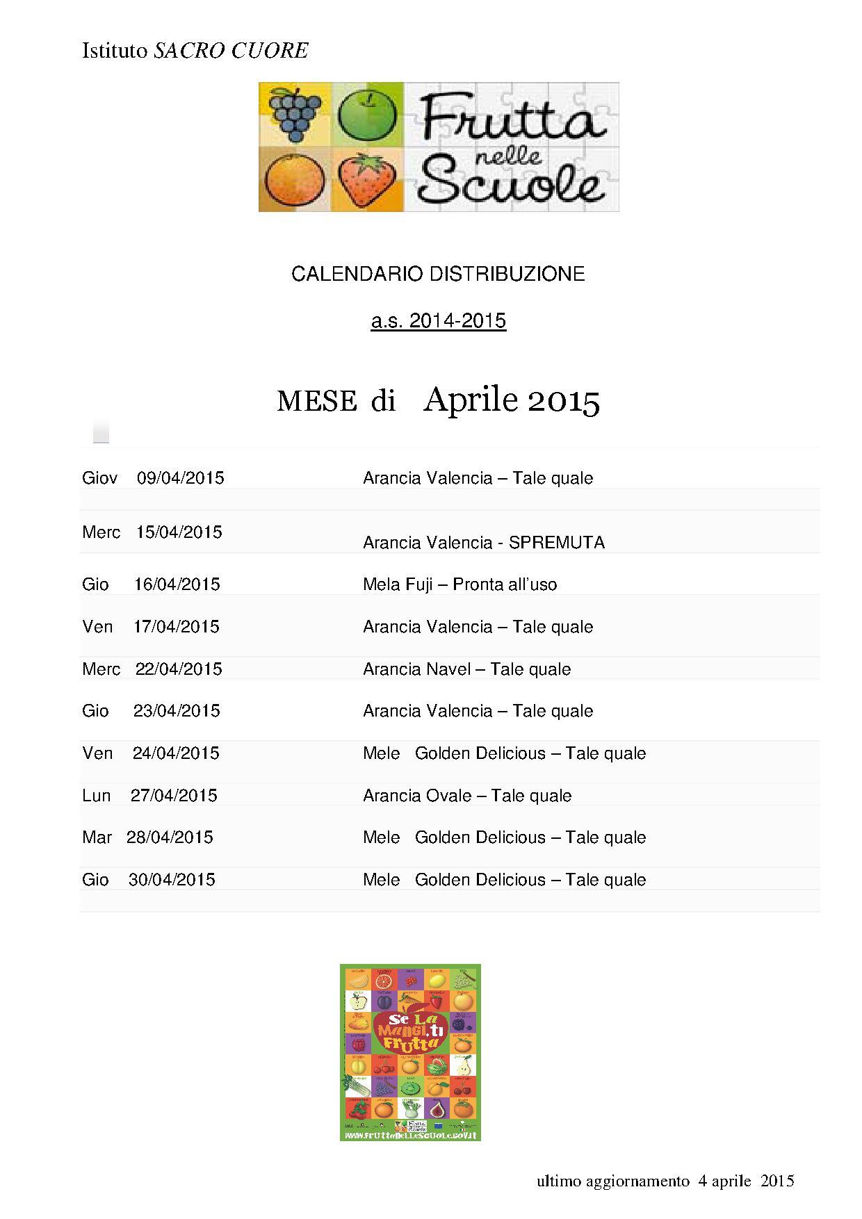 Frutta Nelle Scuole Calendario Distribuzione.Progetto Frutta Nelle Scuole Distribuzione Di Aprile
