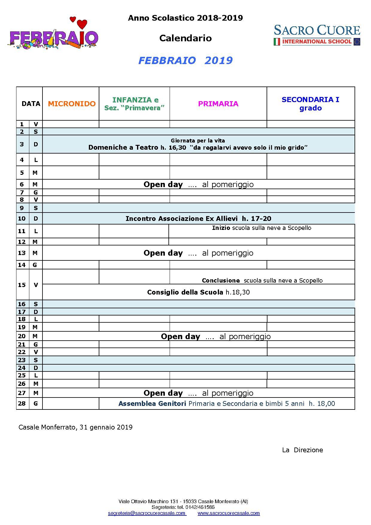 Calendario Lunare 2020 Semine.Febbraio Calendario
