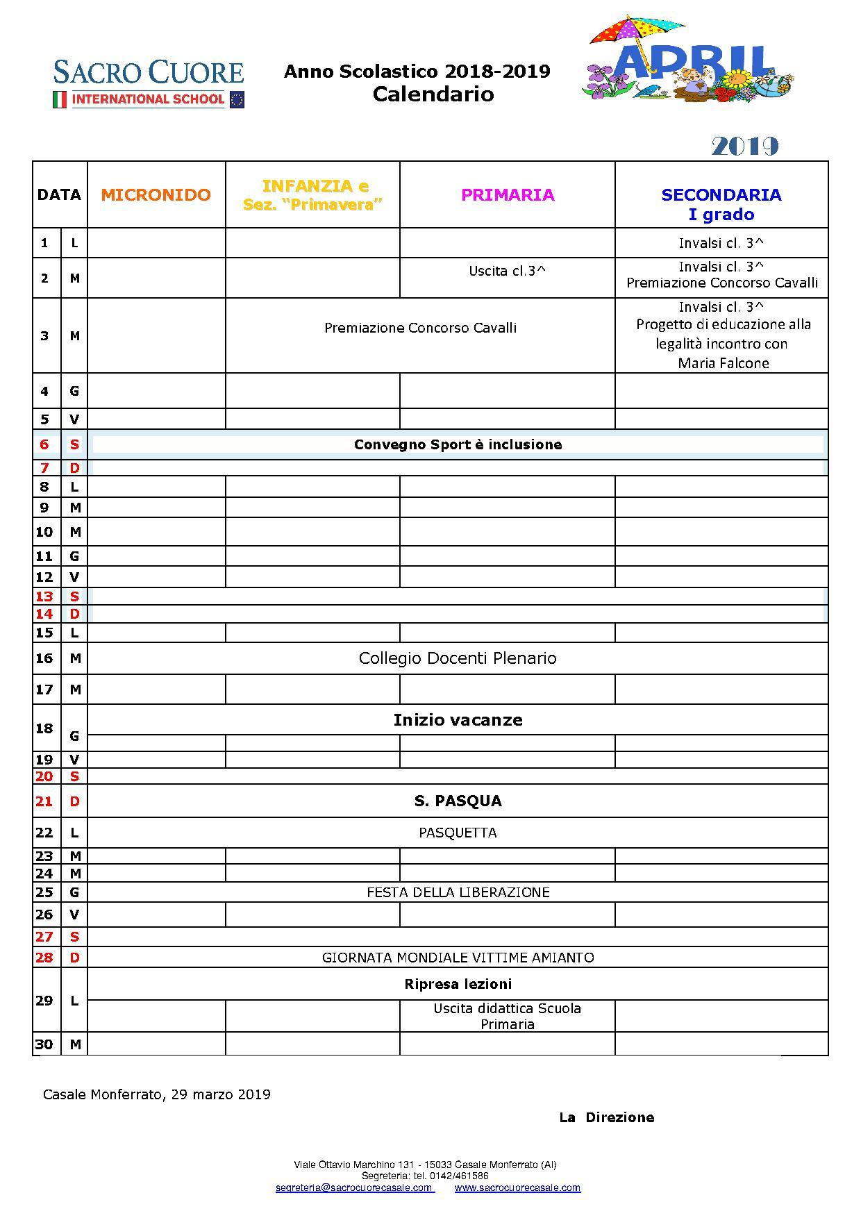 Marzo Calendario.Marzo 2019 Sacro Cuore Casale Monferrato