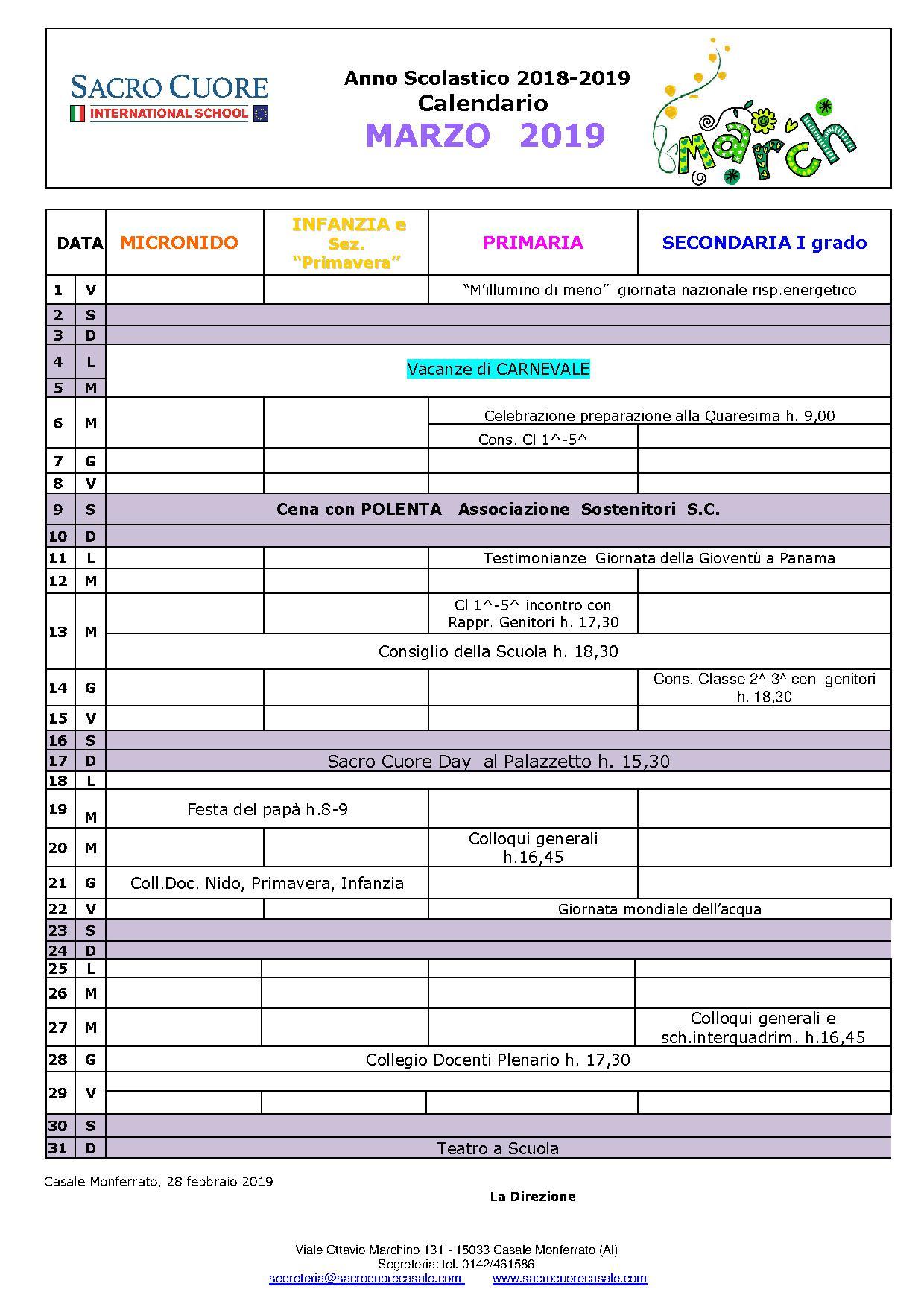 Calendario Di Marzo.Calendario Mese Di Marzo Sacro Cuore Casale Monferrato