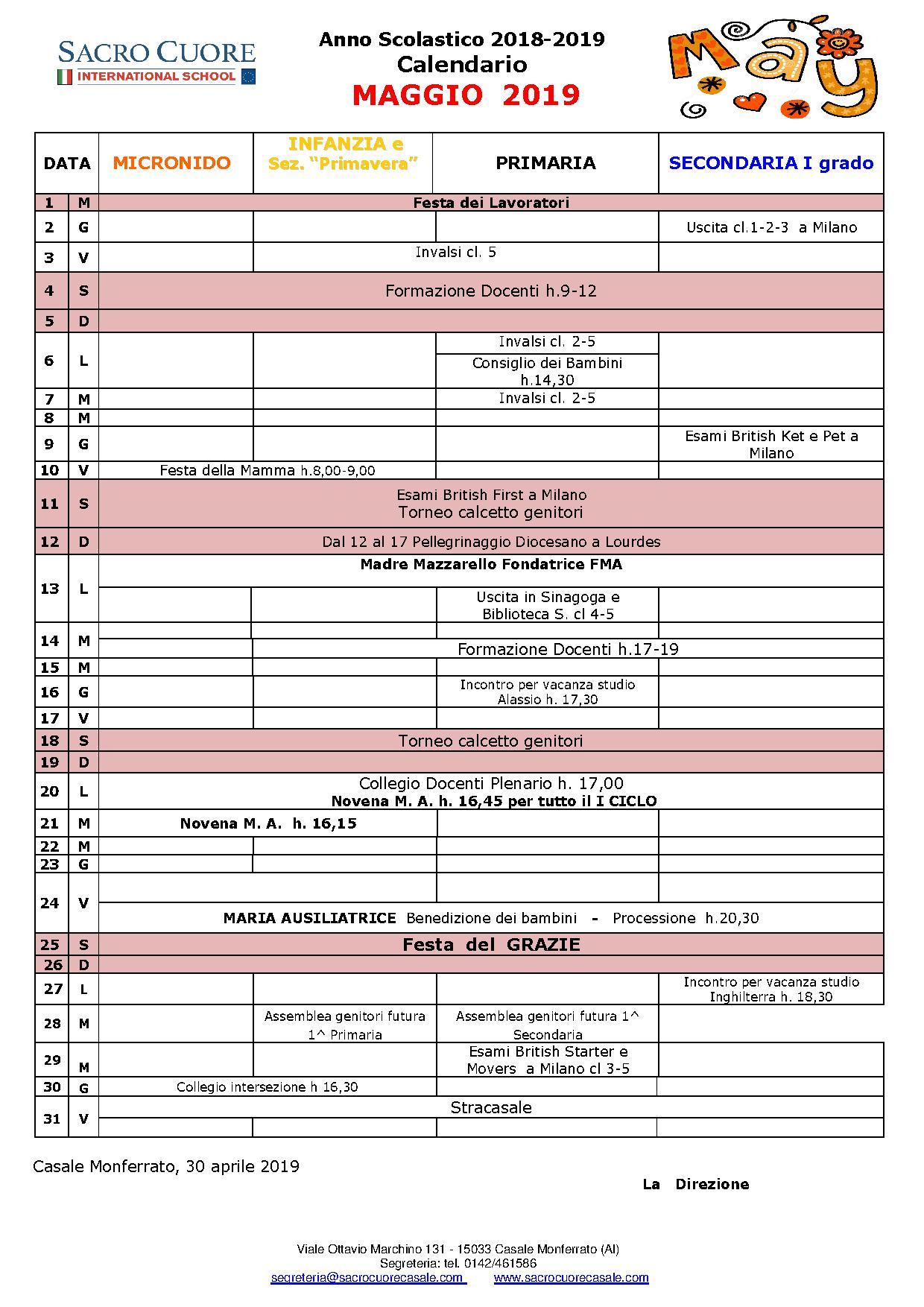 Calendario mese di Maggio