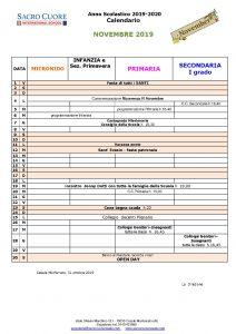Calendario mese di Novembre