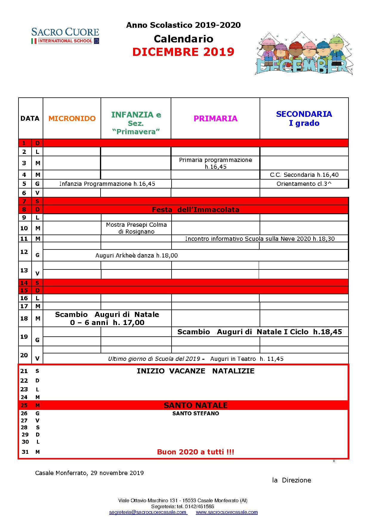 calendario mese di Dicembre