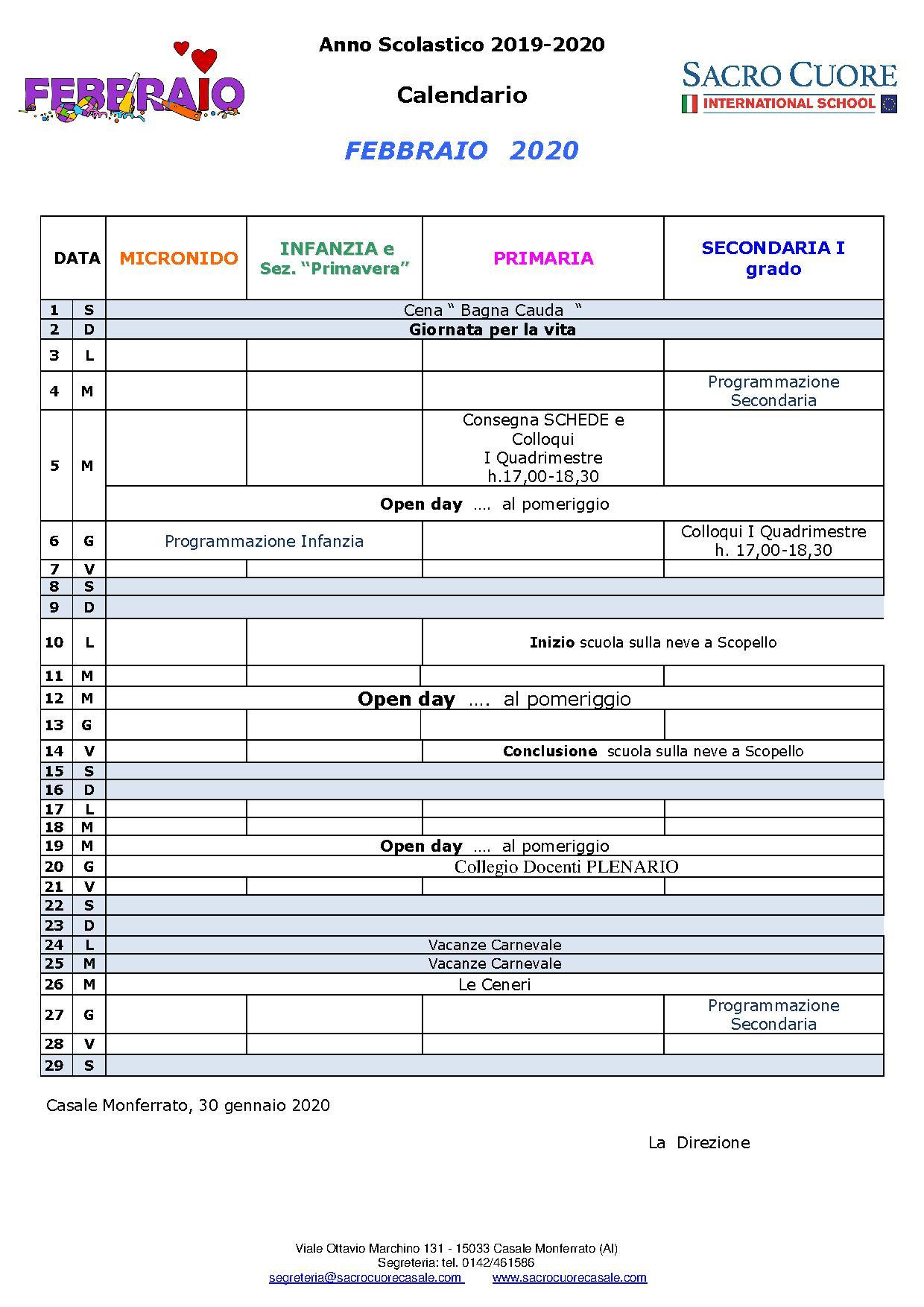 calendario mese di Febbraio