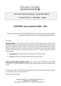 open day e iscrizioni 2020-2021